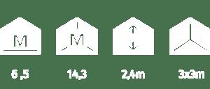 Crown Compant Data 6.5 square meters floorspace, 14.3 cubic metres. 2.4m high. Doors 210x80cm,