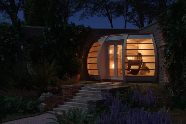 Garden House for residential home. The Crown Compant is a croner garden building which can be uses as a sun house or more. Nordic design with unique shape and modern glass fronted panels.
