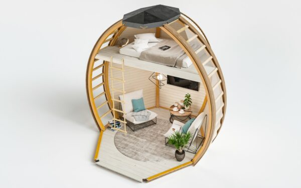 Interior View of The Crown Elegant Pod Houses