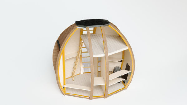 Interior View of The Crown Elegant Commercial Sauna Pod