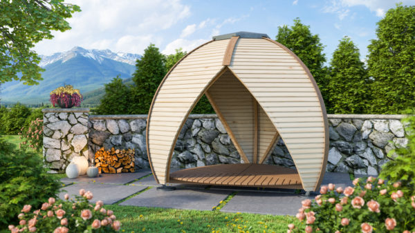 Enjoy Outdoor Living with Luxury Garden Buildings by Huuden - Crown Shield Timber Garden Shelter in a garden setting.