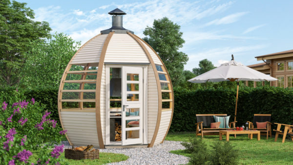 The Crown Smart Grill BBQ Cabin in a garden