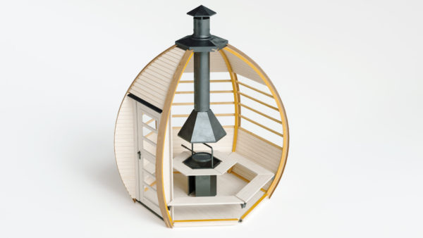 Interior view of The Crown Smart Grill BBQ Cabin